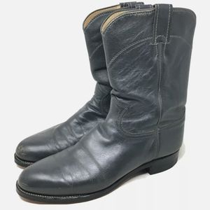 """Justin Men's Boots 9"""" Gray Leather Pull On 9.5D"""